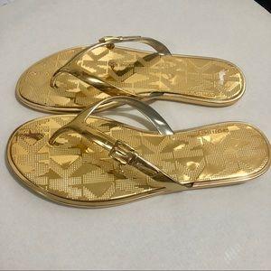 🆕 MK Michael Kors Gold Flats Thongs Sz 7